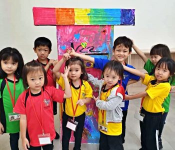 International School KL early years students showing their crafts